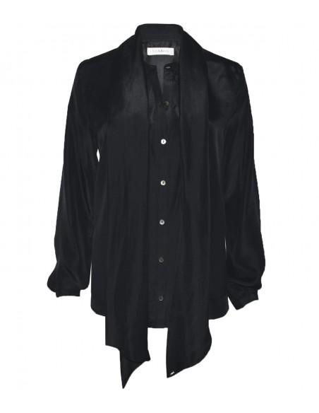 VONBON Siden blus i svart italienskt siden. Knytblus med en stor scarf. Svarta pärlemor knappar.