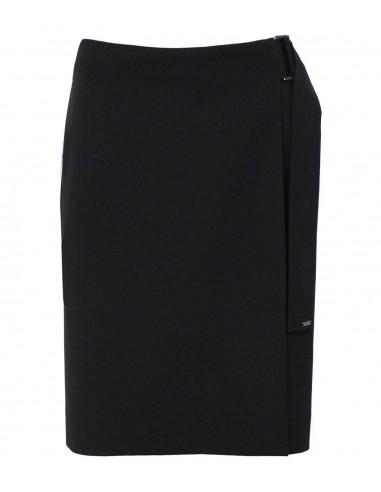 VONBON svart omlottkjol i skrynkelfritt tyg