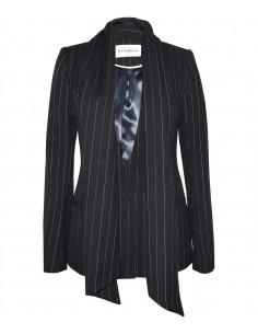 VONBON Pinstripe suit in cashmere wit a associated scarf. Color black.