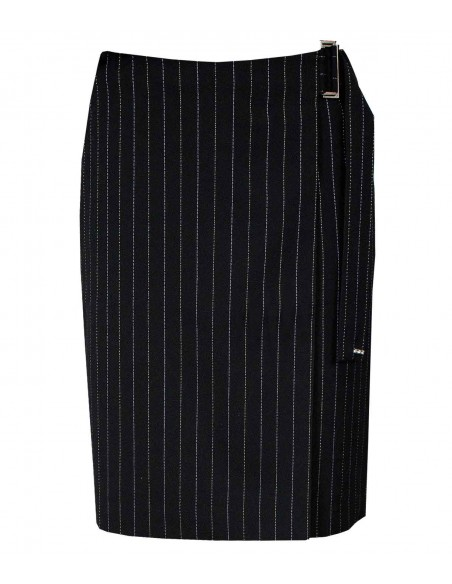 VONBON pinstriped black wrap over skirt. Belongs to a suit. Italian cashmere.