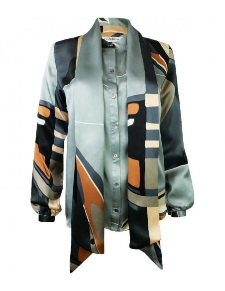 VONBON Siden blus i italienskt mullbärs-siden. Knytblus med en stor scarf. Pärlemor knappar, flerfärgad.