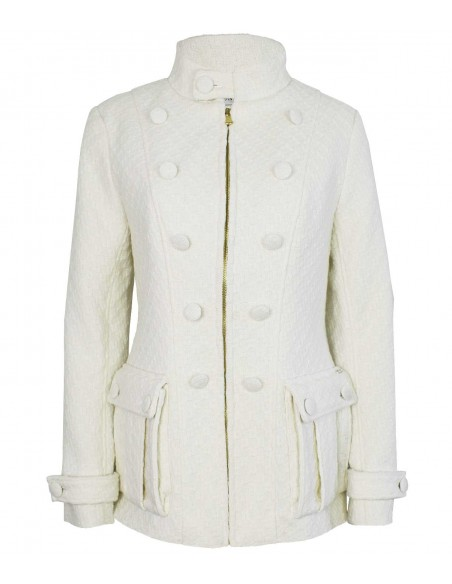 VONBON Chanel boucle jacket in color white. Big welt pockets, zipper front. Lined in exclusive paisley pattern.