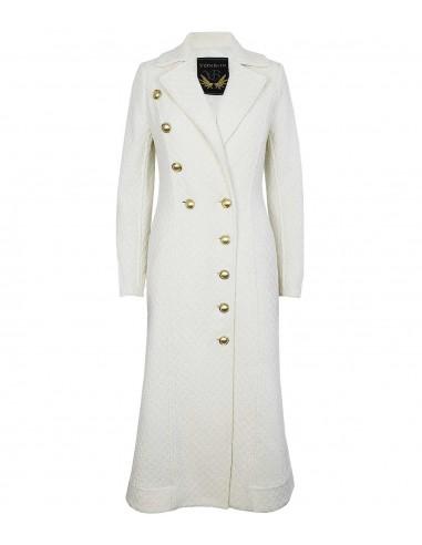 VONBON Hellång figursydd vit kappa i lammull med guld knappar. ofodrad