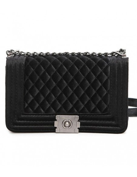 quilted velvet bag with chain