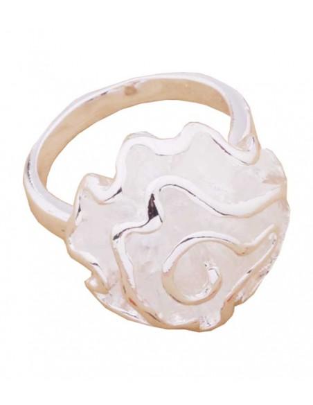 stor silverring från VONBON med en stor solver ros