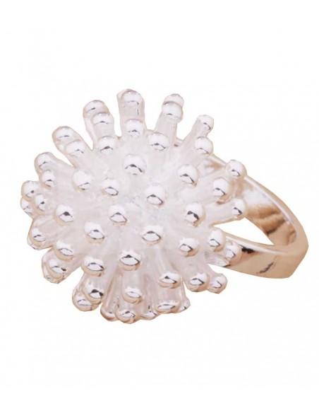 VONBON big silver ring with a silver flower