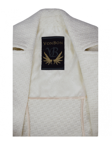 VONBON klassisk elegant vit lång kappa