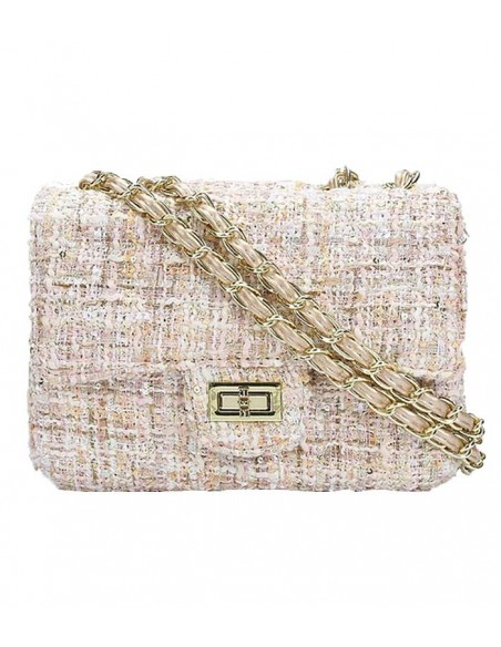 VONBON tweed bag. Creem colored with pink and a gold chain to shoulder strap.