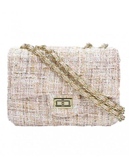 VONBON tweed väska. Creme färgad med rosa inslag och guldkedja till axelrem