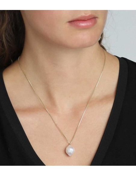Pilgrim jewelry long gold chain with a big white pearl